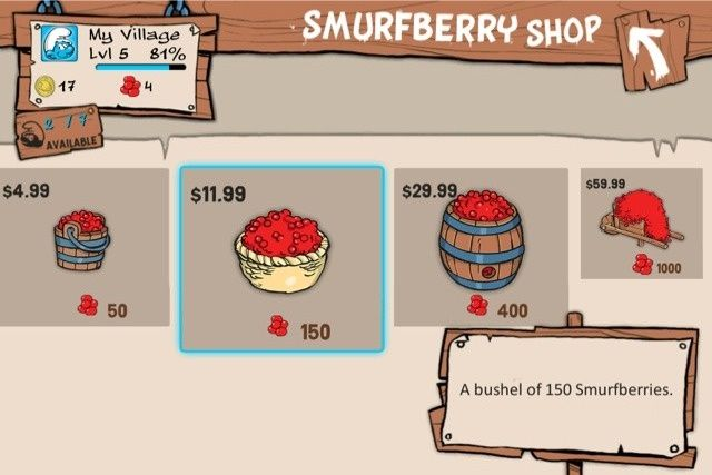 Buying smurfberries in Smurfs' Village