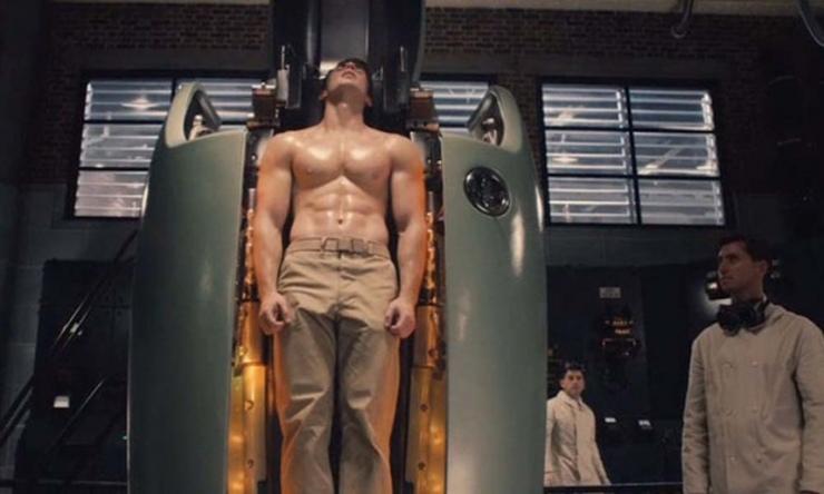 Steve Rogers transforms into Captain America