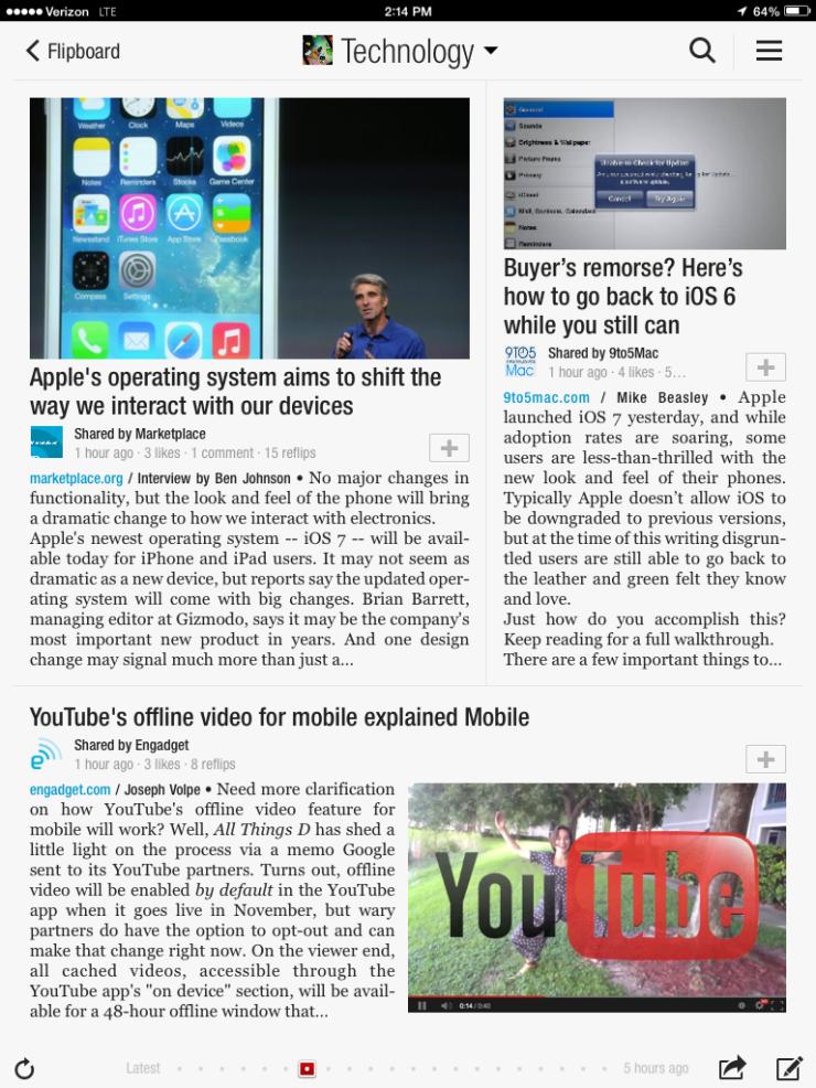 Flipboard on iPad with iOS7