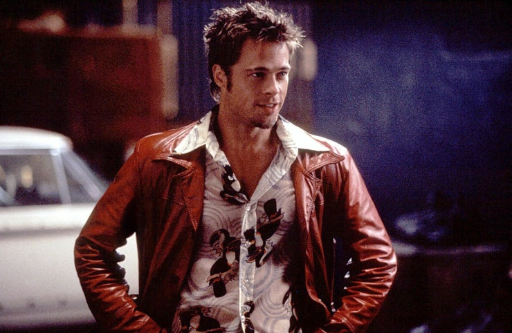 Tyler Durden in red leather jacket