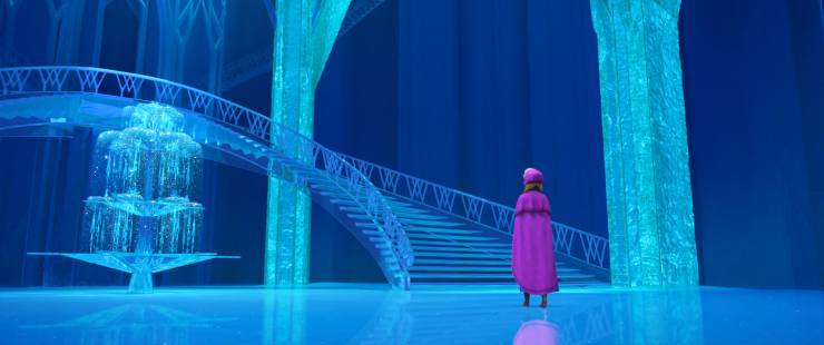 Elsa alone in her ice castle
