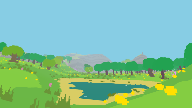 Tranquil pond on a spring day in Proteus