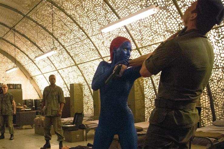 Jennifer Lawrence making Mystique do some stuff for some reason