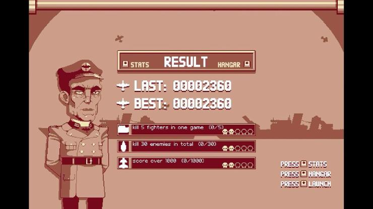 A very Nazi-looking commander in Luftrausers