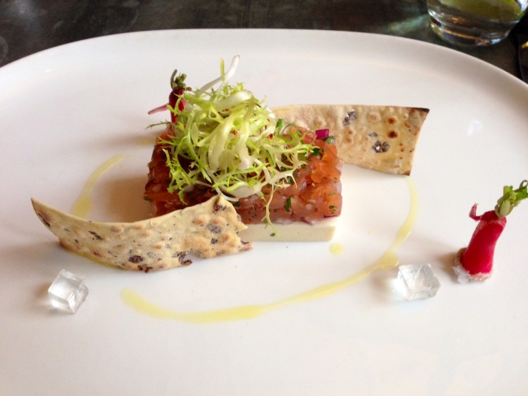 Salmon terrine with white chocolate horseradish at Rabot 1745