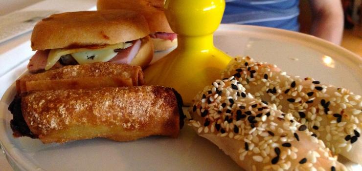 Cubano sandwich and spring rolls at Asia de Cuba