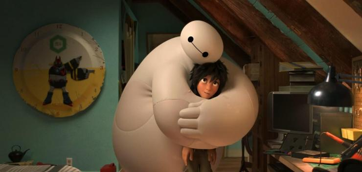 Baymax's medical protocols direct him to treat Hiro's sadness
