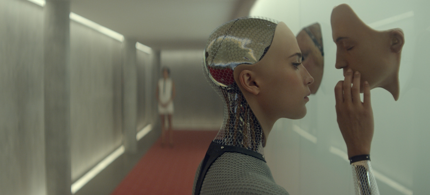Ex Machina: Ava looks at a synthetic face mask