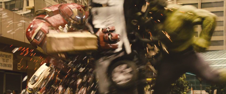 The Avengers swoop in to defend the innocent.  Or destroy their stuff.  Either way, they're awesome, right?