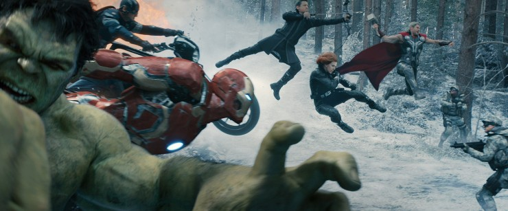 The Avengers attack in formation for the ultimate superhero money shot.  Looks cool, but tactically stupid to approach a fight like this.