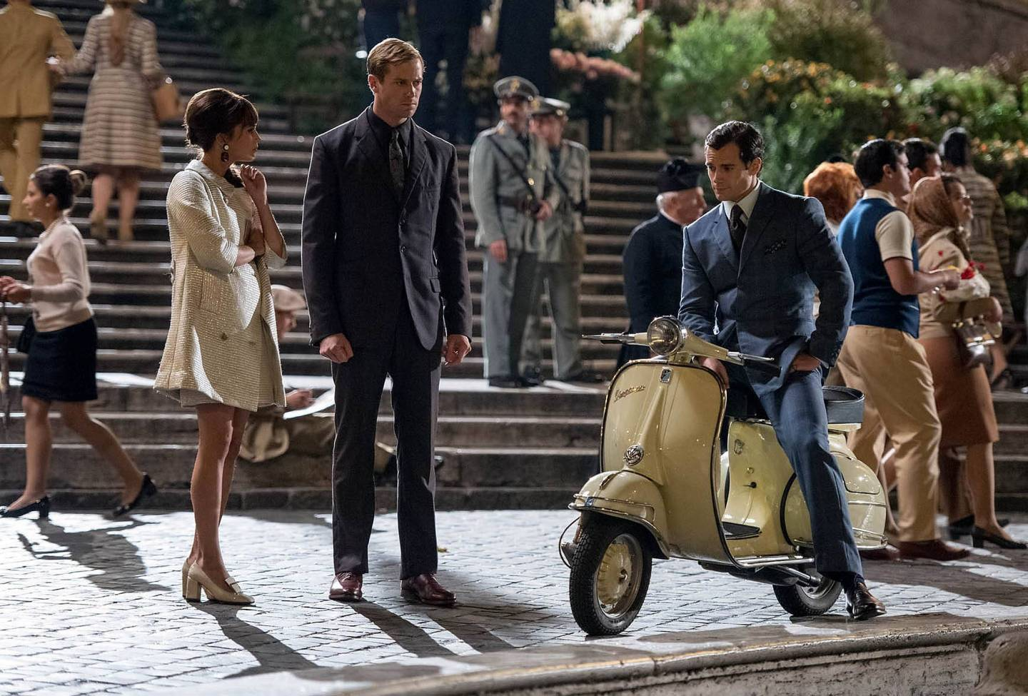 Napoleon Solo astride a fashionable sixties scooter in The Man From U.N.C.L.E.